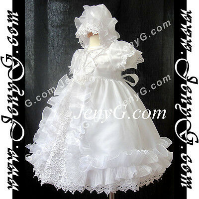 #C51 Flower Girls/Pageant/Formal/Christening Bonnet Gowns, White 0-24 Months