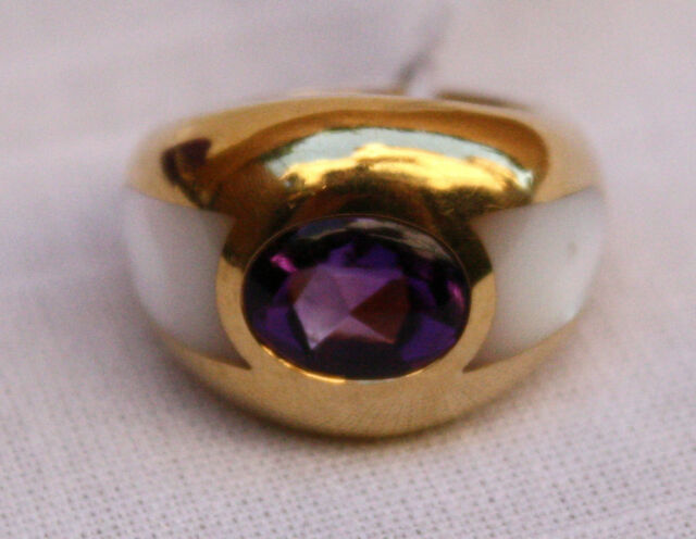 MAUBOUSSIAN 18K MOTHER OF PEARL & AMETHYST RING SIZE 5 BRAND NEW, BAG & BOX