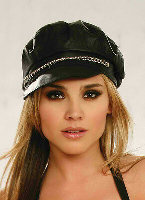 Leather Hat with Chain Detail Cloth sexy wear bondage erotic Elegant Moments