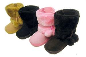 New-Toddler-Infant-Black-Pink-Camel-Flat-PomPoms-Girls-Winter-Fur-Boots-Sz-6-10