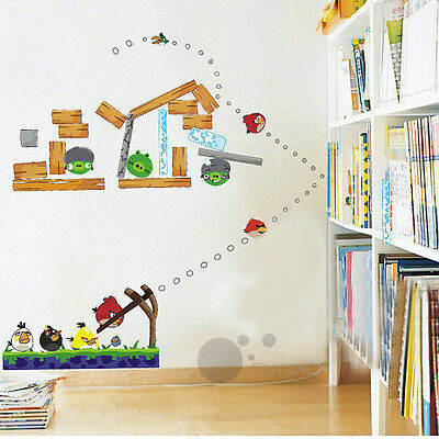 Removable DIY Angry birds Wall Stickers children baby Kids Nursery room mural