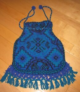 ... -Vintage-Hippie-Blue-Purple-Black-Crochet-Drawstring-Tassel-Purse-Bag