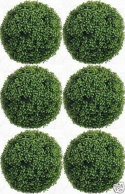 """6 ARTIFICIAL BOXWOOD 10"""" BALL IN OUTDOOR TOPIARY PLANT BUSH TREE EVERGREEN FAKE"""