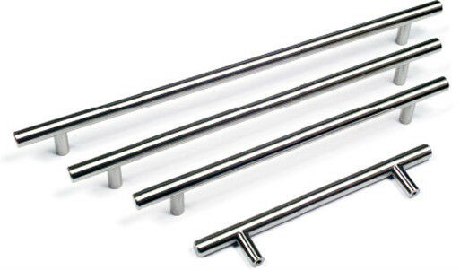 T Bar Handles Inox Kitchen & Bedroom Cabinet Door Handles 96mm to 640mm sizes