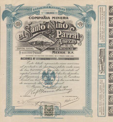 MEXICO SANTO NINO MINING COMPANY BOND stock certificate 1912 W//COUPONS