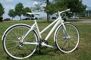 ECO2-Womens-Sora-Hybrid-City-Bike-White-SM-MD-w-Fenders-Lock-Kickstand