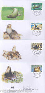WORLD WILDLIFE FUND 2004 TRSITAN DA CUNHA SEAL SET OF FOUR FIRST DAY COVERS