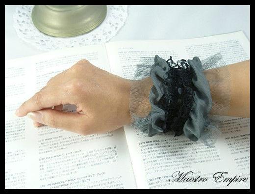 Lace Gothic Punk Cosplay Retro Vintage Lolita Cuffs Wristband - Gray