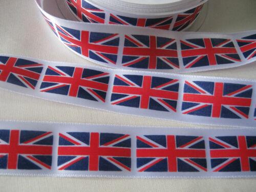 UNION JACK FLAG PRINT    25mm  and 35mm   x 1m 2m or 5m SATIN RIBBON