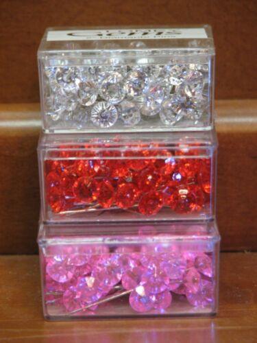 "100 Gem Cut 2/"" Corsage Boutonniere Wedding Diamante Pins Craft Clear//Red//Pink"