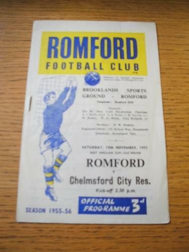 19111955 Romford v Chelmsford City Reserves East Anglian Cup Slight r On