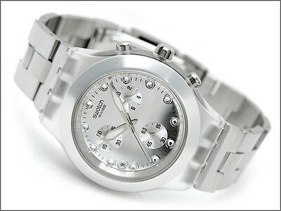 SVCK4038G NEW SWATCH LADIES SWISS CHRONO DIAL SILVER BAND CRYSTALS WATCH