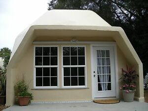 Prefab home kit geodesic tiny dome home fire resistant for Concrete modular homes florida