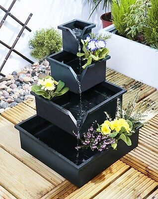 Wheaton Planter Cascade Black Water Feature Fountain Garden Outdoor Patio Tiered