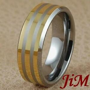 Tungsten Mens Wedding Bands Rings 14K Gold Size 6 15 EBay