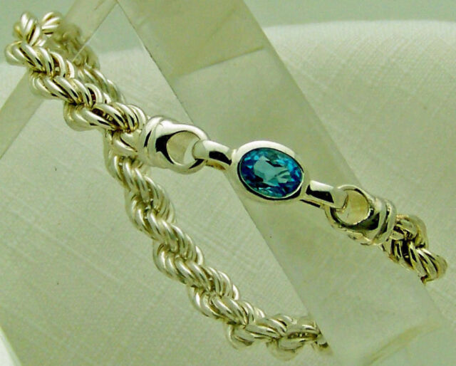 "ALLURING ESTATE STERLING SILVER 925 5/16"" wide ROPE OVAL TOPAZ 7 1/2"" BRACELET"