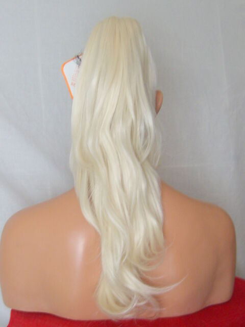 "Clip in Hair Pony Tail Hair Extension Flick White hint Blonde - 19"" CARA"