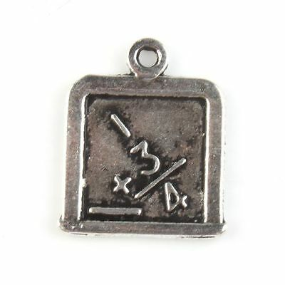 60x 142797 New Square Carved Tag Charms Vintage Silvery Alloy Pendants Findings