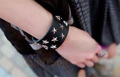 Cool Leather Rivet Star Metal Clip Wide Bracelet Punk Style Wristband Black