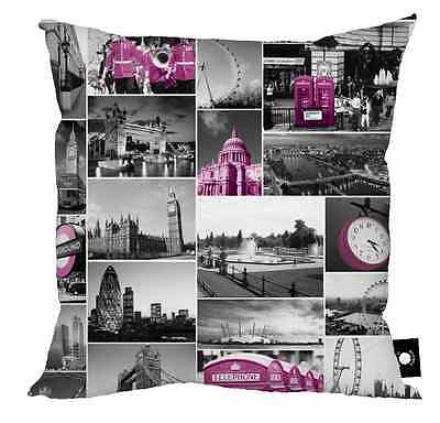 "LONDON BLACK WHITE & PINK PHOTO MONTAGE CUSHION 18"" X 18"" GREAT GIFT IDEA"
