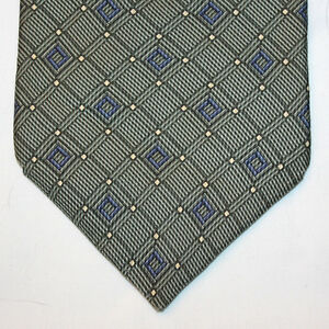 NEW-Nautica-Silk-Neck-Tie-Medium-Green-with-Blue-Plaids-and-Yellow-Dots-1245