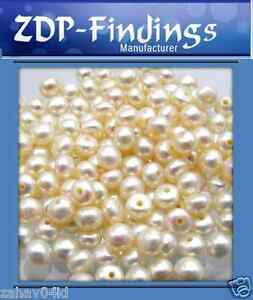 Quality-Ivory-White-Freshwater-Pearls-Button-Half-drilled-hole-from-2-13mm