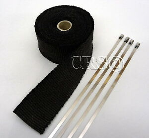 HIGH-HEAT-BLACK-FIBERGLASS-EXHAUST-WRAP-KIT-PIPE-TURBO-TAPE-CERAMIC-B15K-HOSE