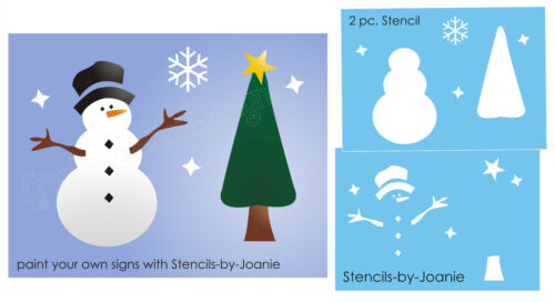 Winter STENCIL Frosty Snowman Country Tree Snowflakes Christmas Signs U Paint