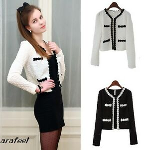 Textured-Classic-Basic-Cropped-Cardigan-Blazer-bolero-Prim-Trim-Short-jacket-hot