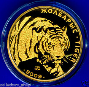 Kazakhstan Gold Coin 500 Tenge Tiger 2009 Animals Fauna