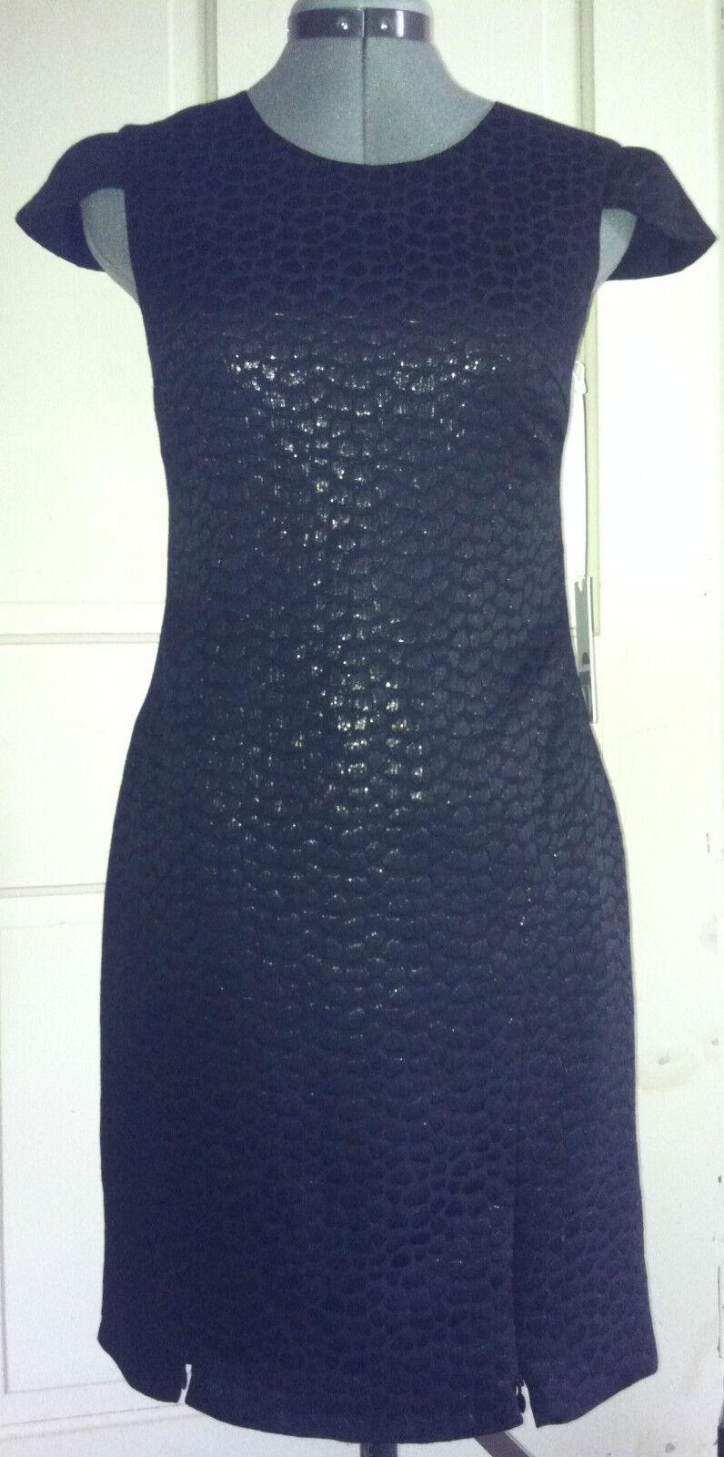 2brych Croc-Embossed Cap-Sleeve Metallic Sheath Dress Größe 0 XS-schwarz-NWT--2
