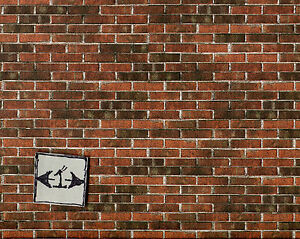 Embossed Dark Brick Sheet 34978 wallpaper World & Model dollhouse 1/12 scale 1pc