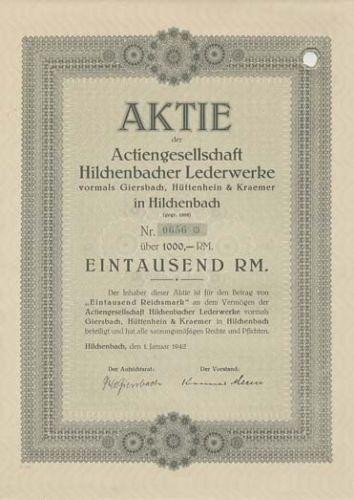 AG Hilchenbacher Lederwerke Hilchenbach  Aktie 1942 Siegerland Gerberpark NRW
