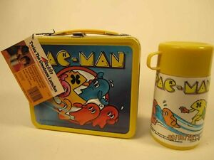 Vintage-Pac-Man-Lunch-Box-NEW-with-Tag-and-Bottle
