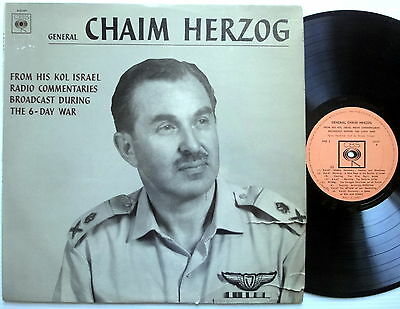General CHAIM HERZOG Spoken Word LP Commentaries During The 6 Day War ISRAEL