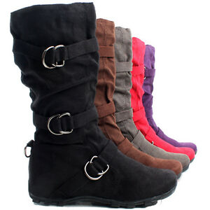 Flat-Slouch-Mid-Calf-Buckle-Faux-Suede-Ladies-Designer-Womens-Hidden-Wedge-Boots