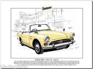 sunbeam alpine mk1 v 1959 68 kunstdruck a4 rootes. Black Bedroom Furniture Sets. Home Design Ideas