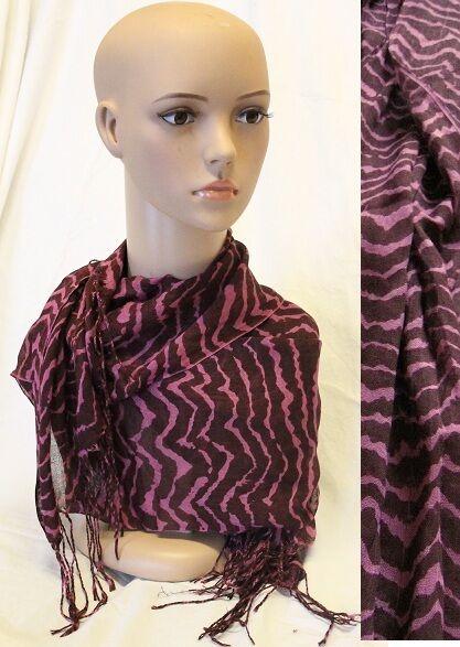100% Viscose Cotton Long Purple Zebra Stripe Animal Print Scarf Gift