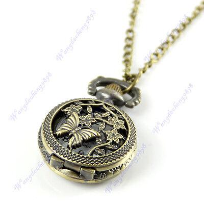 Retro Vintage Bronze Butterfly Flower Hollow Quartz Pocket Watch Necklace Chain