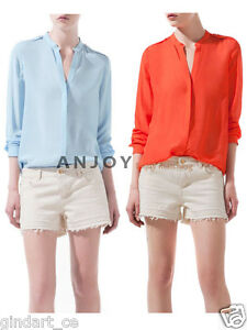 New-Fashion-Womens-Casual-Cotton-Long-Sleeve-V-Neck-Studs-Top-Shirt-Blouse-S-M