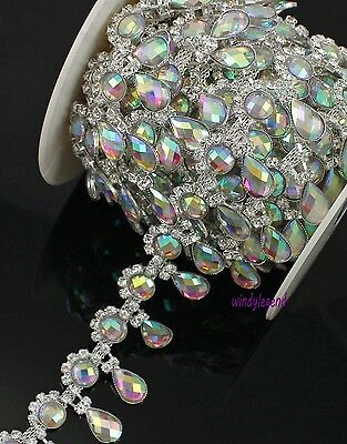 1 Yard Rhinestone Silver AB Colorful Crystal Fashion Costume Applique Trim Chain