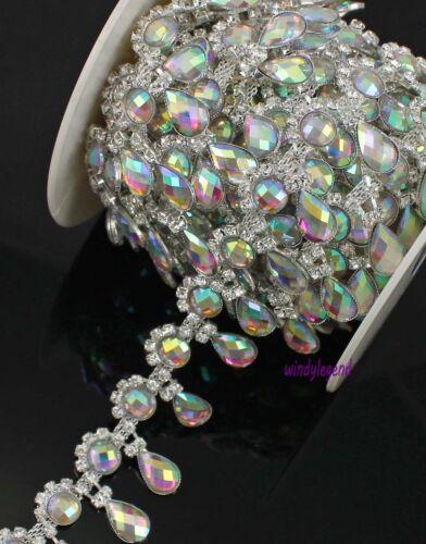 1 Yard Rhinestone Silver AB Colorful Crystal Fashion Costume Applique Trim Chain
