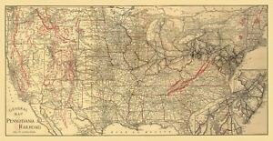 24x36-Vintage-Reproduction-General-map-of-Pennsylvania-Railroad-1893