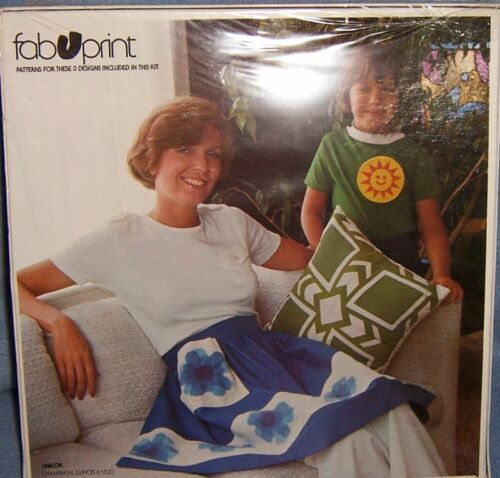 FAB U PRINT iron on fabric print transfer KIT flower SUN leaves apron pillow