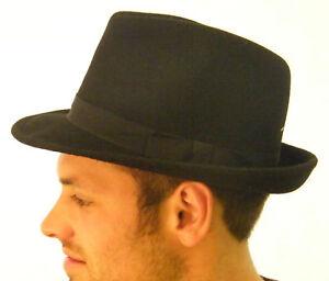 New-Mens-Original-Wool-Felt-Black-Trilby-Hat-XS-S-M-L-XL