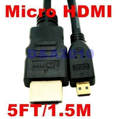 5FT 1.5m Micro HDMI to HDMI Cable EVO 4G Droid X Atrix