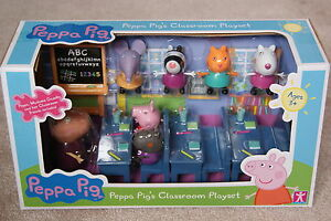PEPPA-PIG-CLASSROOM-PLAYSET-7-FIGURES-BUNDLE-NEW-VERY-RARE