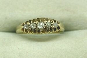 Antique-18ct-Gold-Five-Stone-Diamond-Gypsy-Ring