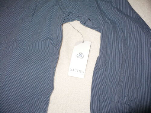 NEW NWT NAUTICA MEN/'S BUTTON UP FRONT SHIRT SIZE SMALL S L//S STRIPED COTTON LOGO