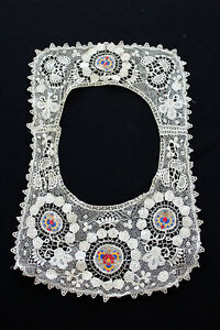 ANTIQUE-EDWARDIAN-PERIOD-COTTON-LACE-AND-SILK-COLOR-EMBROIDERED-COLLAR-17-039-X-11-034